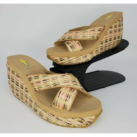 New Volatile Raffia Woven Platform Wedge Sandals